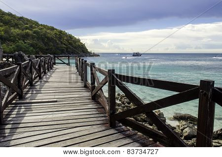 Wooden Bridge With Beautiful Seacape In Koh Lan ,thailand