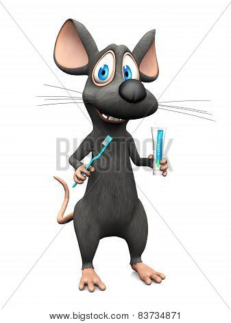 Smiling Cartoon Mouse Ready To Brush His Teeth.