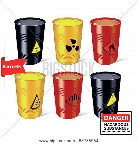 Signs of hazardous substances. Danger. Steel barrels.