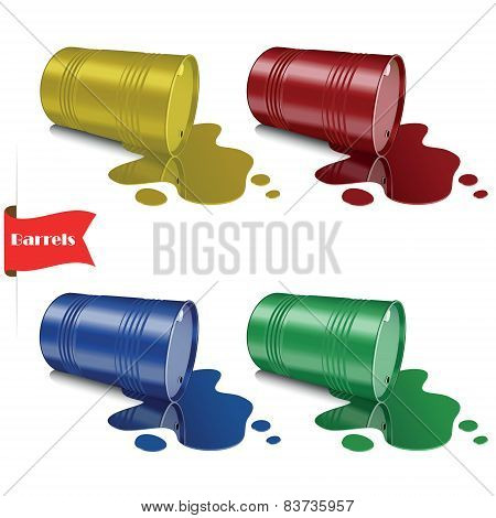 Spilled liquid. Metal multicolored barrels. Steel cans.