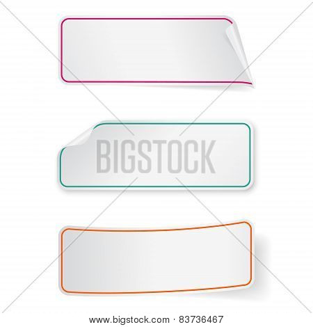 Set Of Long Sticker Labels. Design Templates For Infographics.