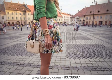 Outfit Details Of Fashion Elegant Stylish Woman Posing On Streets Of European City In Summer Evening