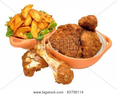 Southern Fried Chicken Portions And Wedges