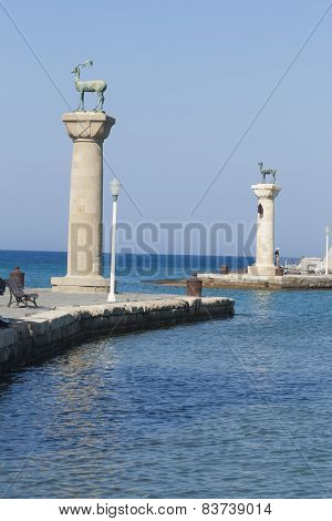 Entrance to the harbor of Rhodes