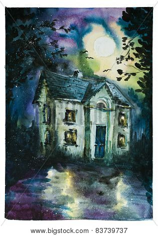 Halloween design with haunted house. Watercolor.