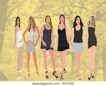 Fashion girls - conceptual  illustration, high detailed elegant sexy young model