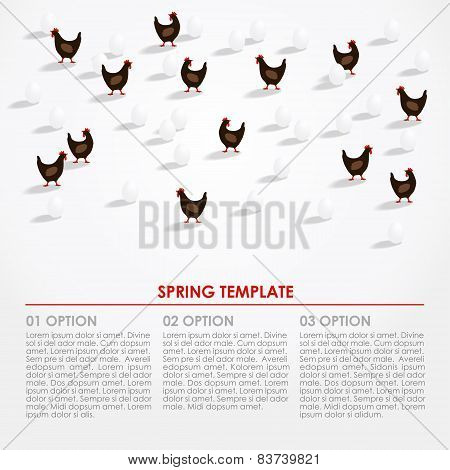 Spring Easter Infographics Background With Hens And Eggs, Vector