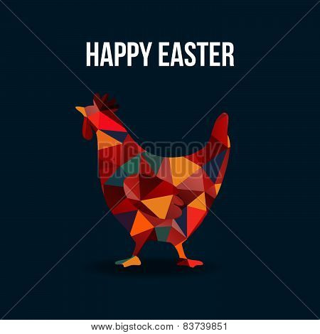 Easter card with polygon hen silhouette, vector illustration background