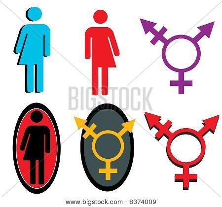 Conjunto de iconos transgénero
