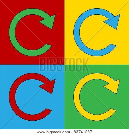Pop Art Repeat Simbol Icons.