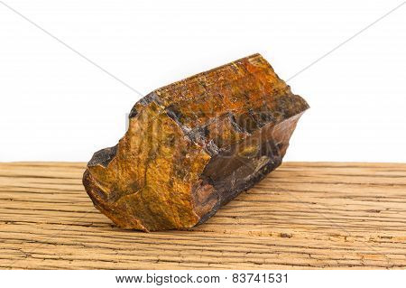 Brown Petrified Wood Oak Surface White Background Front Focus.