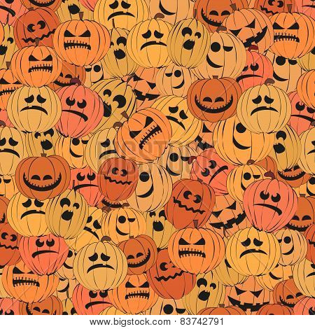 Seamless pattern with pumpkins.