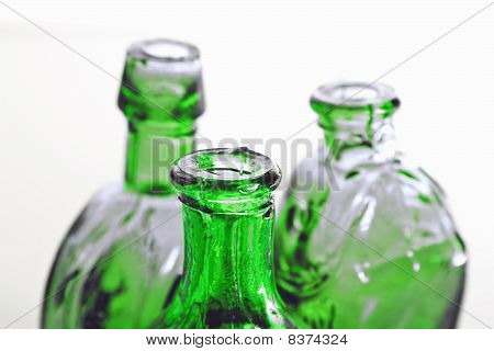 Green Bottles In Close Up