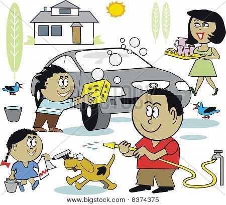 Happy family washing car cartoon