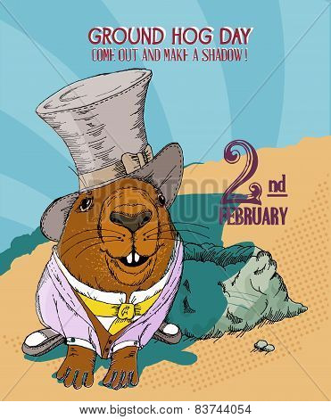 Groundhog day poster in vintage doodle style. 2 February.