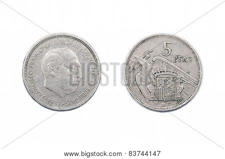 Five pesetas coin from Spain 1957 Franco