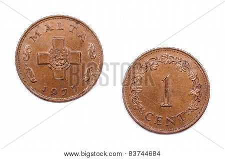 One Cent coin from Malta 1977