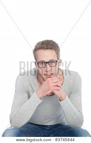 Portrait Happy Young Man With Glasses