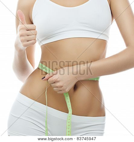 Attractive Yong Caucasian Woman Isolated  On White Background Studio Shot Figure Body