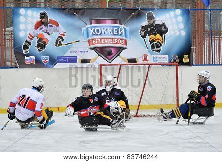 Sledge Hockey Goalkeeper And Three Players
