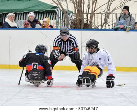 Two Sledge Hockey Players And Referee