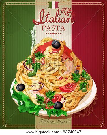 Italian pasta. Spaghetti with sauce.