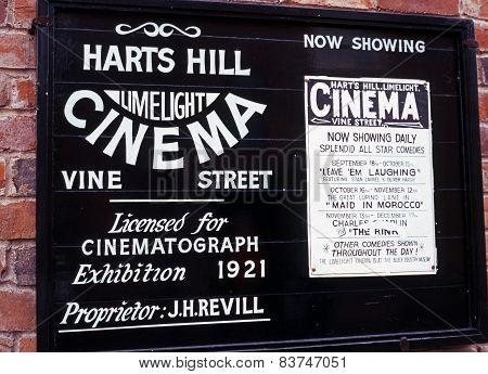 Victorian cinema sign.