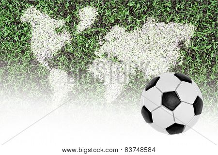 Football Pitch, World Map And The Ball