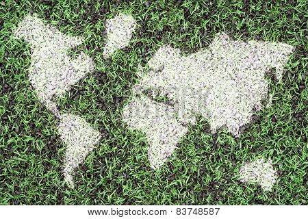 Football Pitch And World Map