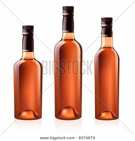 Bottles of cognac (brandy). Vector illustration.