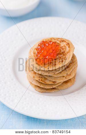Buckwheat Blini With Red Caviar