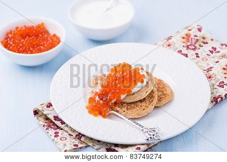 Buckwheat Blini With Red Caviar And Sour Cream