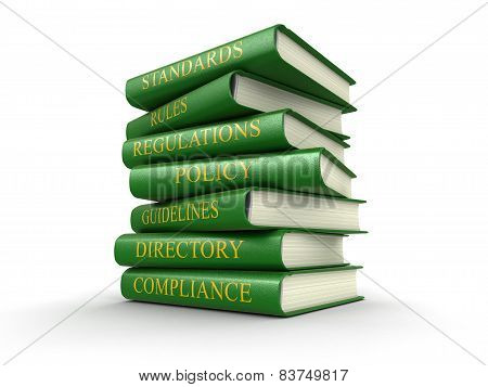 Stack of compliance and rules books (clipping path included)