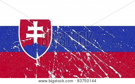 Flag Of Slovakia With Old Texture. Vector
