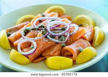 Smoked Salmon Platter With Onions And Capers