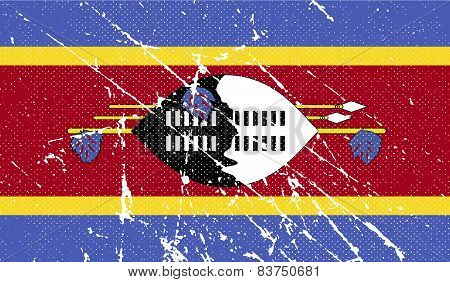 Flag Of Swaziland With Old Texture. Vector