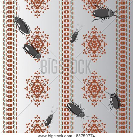 Pattern With Cockroaches