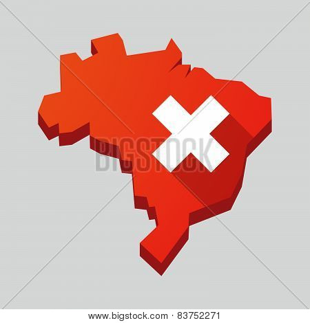 Red Brazil Map With An