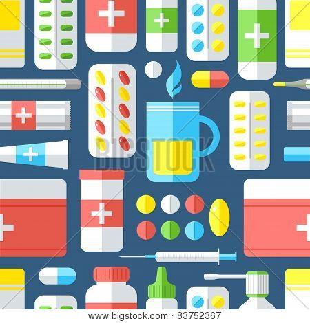 Seamless Pattern With Medicines.