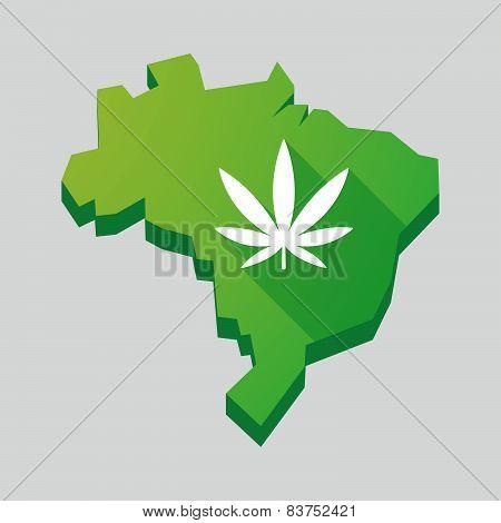 Green Brazil Map With A Marijuana Leaf