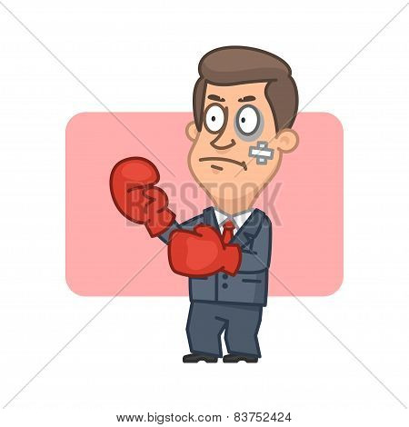 Businessman standing fighter in boxing gloves