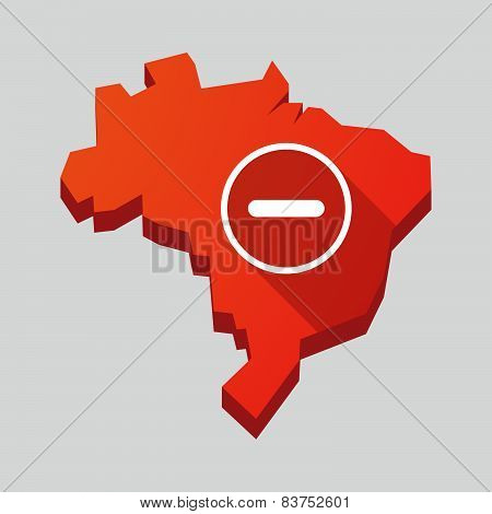 Red Brazil Map With A Subtraction Sign