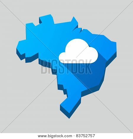 Blue Brazil Map With A Cloud