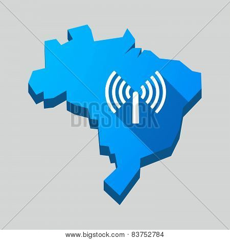 Blue Brazil Map With A Wifi Antenna