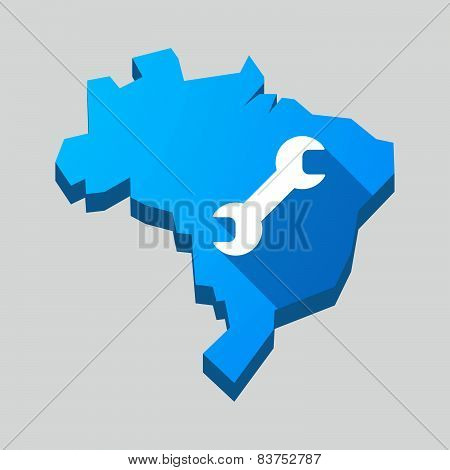 Blue Brazil Map With A Wrench