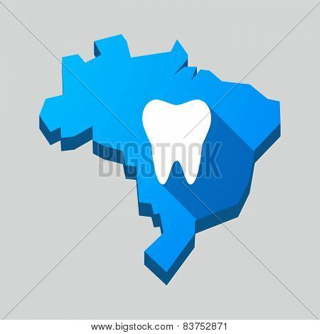 Blue Brazil Map With A Tooth