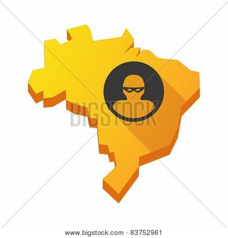 Yellow Brazil Map With A Thief