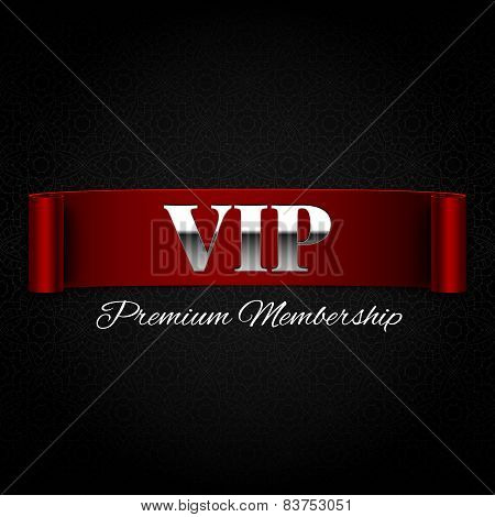 Vip Text On Red Ribbon Vector Illustration