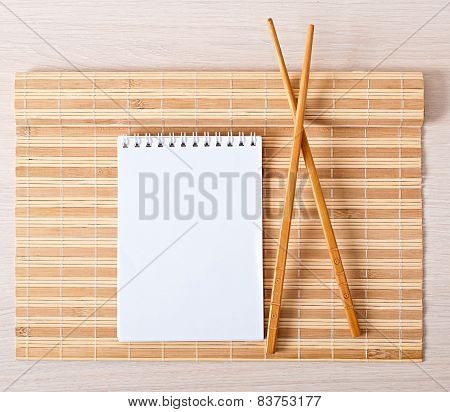 bamboo napkin and chopsticks for sushi