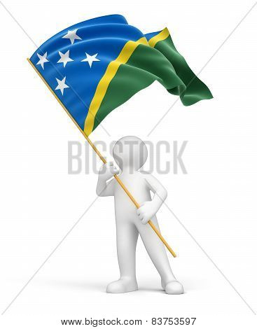 Man and Solomon Islands flag (clipping path included)
